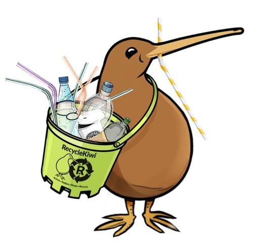 RecycleKiwi with bucket of trash
