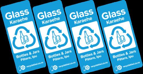 Glass recycling bin stickers