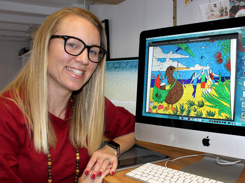 Zoe Sizemore with one of the coloured-in beach scenes from the RecycleKiwi online gallery.