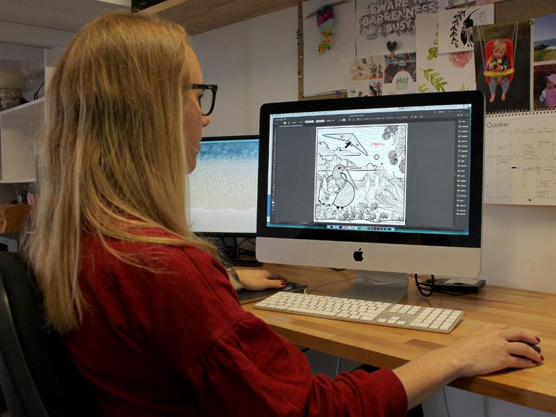 Zoe Sizemore at work in her Papamoa studio.
