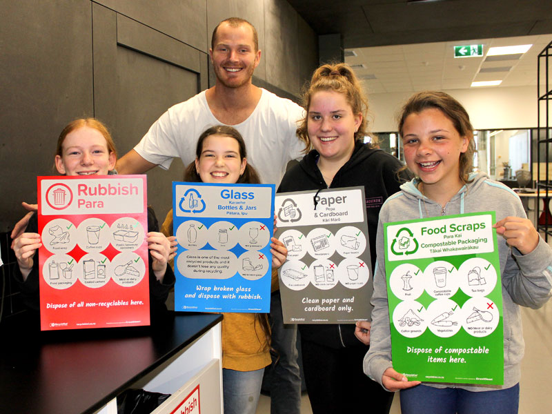 Sam O'Dea with students Cassidy Cooper, Layla McKinstry, Coco Edwards and Alpha Rae-Flick.
